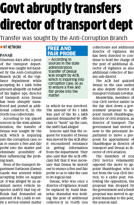 Free and Fair probe Govt abruptly transfers director of transport dept ...